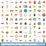 100 tourist attractions icons set, cartoon style. 100 tourist attractions icons set in cartoon style for any design vector illustration Stock Photos