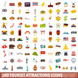 100 tourist attractions icons set, flat style Royalty Free Stock Photo