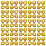 100 tourist attractions icons set gold. 100 tourist attractions icons set in gold circle isolated on white vector illustration Stock Illustration