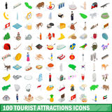 100 tourist attractions icons set Stock Image