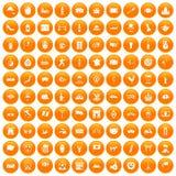 100 tourist attractions icons set orange. 100 tourist attractions icons set in orange circle isolated on white vector illustration Vector Illustration