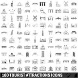 10 tourist attractions icons set, outline style Stock Image