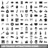 100 tourist attractions icons set, simple style Stock Photo