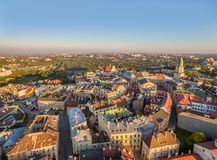 Lublin from the air. Landscape of the old town in Lublin with characteristic points, seen from the bird`s eye view. Stock Photos