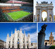 Tourist attractions in Milan, Italy. Collage of famous tourist attractions and landmarks in Milan, Italy royalty free stock photo