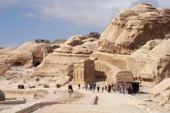 Tourist auf PETRA, Jordanien stockfotografie