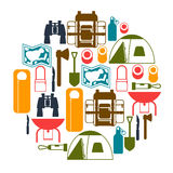 Tourist background with camping equipment in flat Stock Images