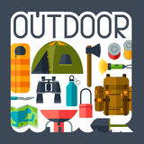 Tourist background with camping equipment in flat Royalty Free Stock Photos