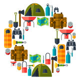 Tourist background with camping equipment in flat Stock Photos