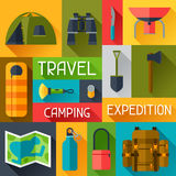 Tourist background with camping equipment in flat Royalty Free Stock Image