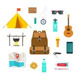 Tourist backpack with camping hiking things equipment to travel. Tourist backpack with things to travel with  vector illustration, items collection for camping Stock Photo