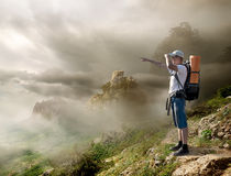 Tourist with backpack stock image
