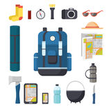 Tourist backpack. Great marching backpack with a set of tourist things for travel. Royalty Free Stock Photography