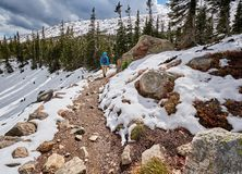 Tourist with backpack hiking on snowy trail stock photos