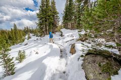 Tourist with backpack hiking on snowy trail Royalty Free Stock Image