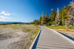 Tourist with backpack hiking in Yellowstone Royalty Free Stock Images