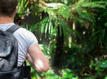 Tourist with backpack. Royalty Free Stock Photos