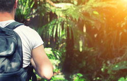 Tourist with backpack. Tourist with backpack in the jungle. Space for your text Royalty Free Stock Photo