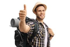 Tourist with a backpack making a thumb up sign Stock Photography