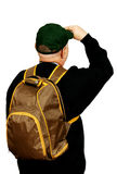 Tourist with a backpack. Male tourist with a backpack and a baseball cap looking upwards with his head, white background Stock Photos