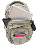 Tourist backpack with mobile devices isolated Stock Photos
