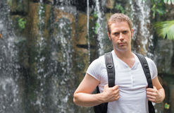 Tourist with backpack. Royalty Free Stock Images