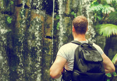 Tourist with backpack. Royalty Free Stock Image