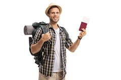 Tourist with a backpack and a passport Stock Photography