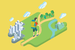 Tourist With Backpack Summer Vacation. Flat Isometric Art. Royalty Free Stock Photos