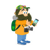 Tourist with a backpack and a telephone isolated on a white back Stock Photography