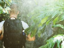 Tourist with backpack. Tourist with backpack in the jungle. Vintage effect Stock Photo