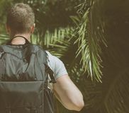 Tourist with backpack. Tourist with backpack in the jungle. Vintage effect Royalty Free Stock Photography