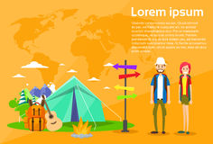 Tourist Backpacker Couple Tent Camping Forest Royalty Free Stock Photo