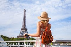 Tourist backpacker in Paris, travel in Europe. France stock images