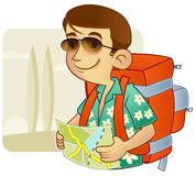 Tourist - backpacking Stock Photography