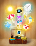 Tourist bag with colorful summer icons and symbols Stock Photos