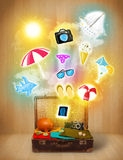 Tourist bag with colorful summer icons and symbols Royalty Free Stock Images