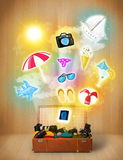 Tourist bag with colorful summer icons and symbols Royalty Free Stock Photo