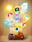 Tourist bag with colorful summer icons and symbols Stock Photo
