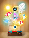 Tourist bag with colorful summer icons and symbols Stock Image