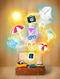 Tourist bag with colorful summer icons and symbols Royalty Free Stock Photos