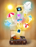 Tourist bag with colorful summer icons and symbols Royalty Free Stock Photography