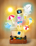 Tourist bag with colorful summer icons and symbols Royalty Free Stock Image
