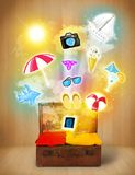 Tourist bag with colorful summer icons and symbols. On grungy background Stock Image
