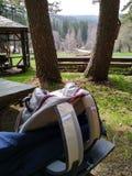 Tourist bag in the mountain stock photos