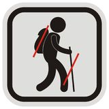 Tourist with bag and stick, gray and black frame, vector icon Stock Photo