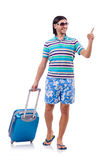 Tourist with bags isolated on white. Tourist with  bags  on white Stock Images