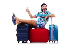 Tourist with bags isolated on the white Stock Images