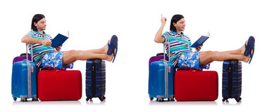 The tourist with bags isolated on white Stock Image