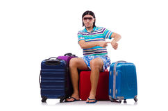 Tourist with bags isolated on white Stock Image
